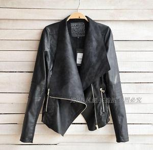 Nwt zara motorcycle biker big lapel pu leather women snug girl jacket coat h0692