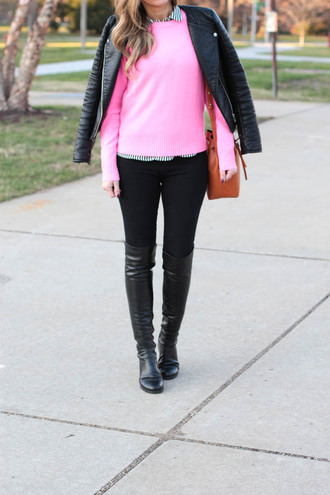 lilly's style blogger pink sweater leather jacket knee high boots brown bag spring outfits