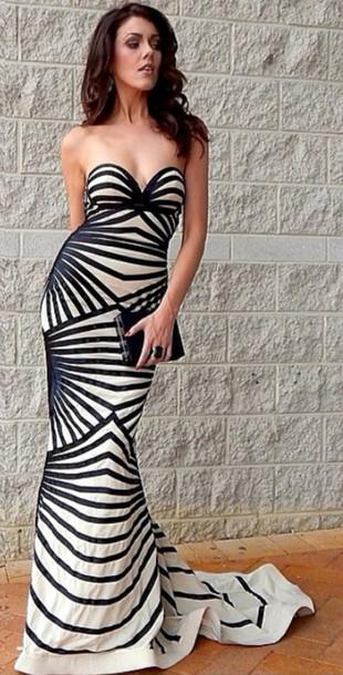 murad zahir murad nude and stripe stripes gown mermaid