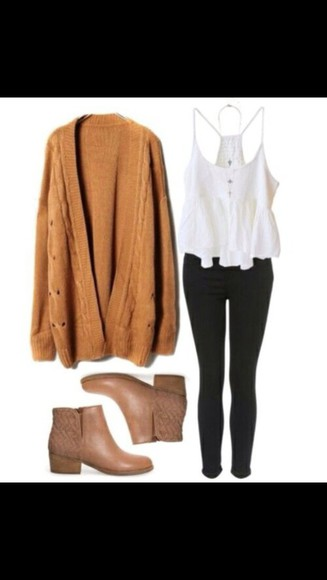 shoes brown ankle boots cardigan