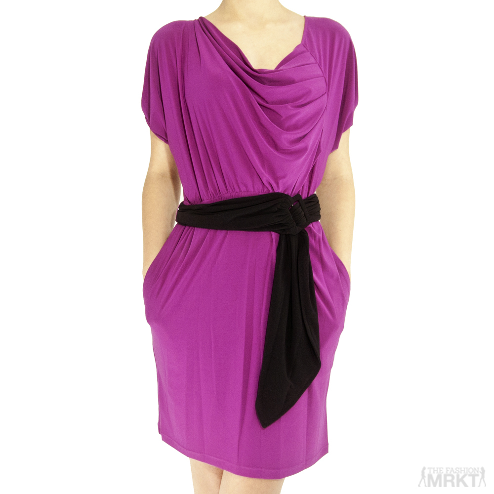 Mark   James by Badgley Mischka Cap-Sleeve Belted Jersey Dress / TheFashionMRKT