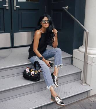 jeans tumblr blue jeans denim frayed denim frayed jeans cropped jeans top black top bag black bag embroidered silver shoes shoes flats sunglasses mirrored sunglasses
