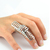 Silver CAGE Armour Knuckle Hinged Double Full Finger RING | eBay