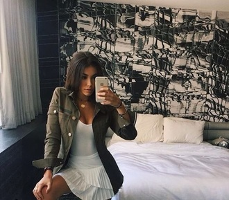 dress white white dress madison beer jacket green jacket