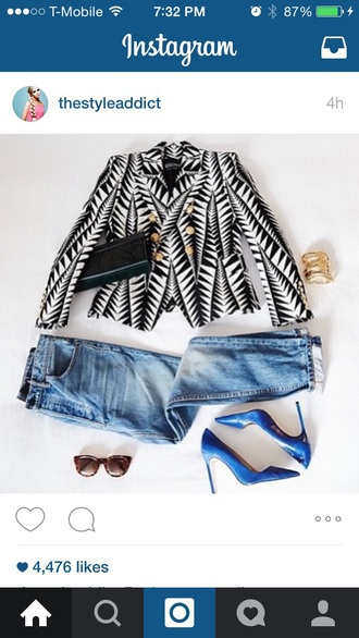 jeans blazer high heels blue high heels blue heels geometric optical