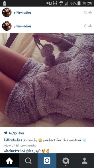 pajamas grey fluffy warm sleep sleepwear