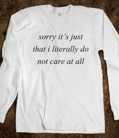 Do not care at all in white nineties apparel skreened for Organic custom t shirts