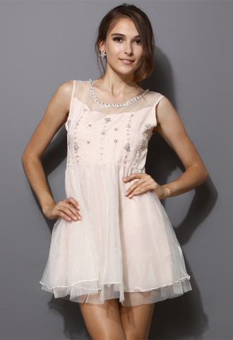 dress pearls tulle skirt peach sleeveless mesh sarah jessica parker