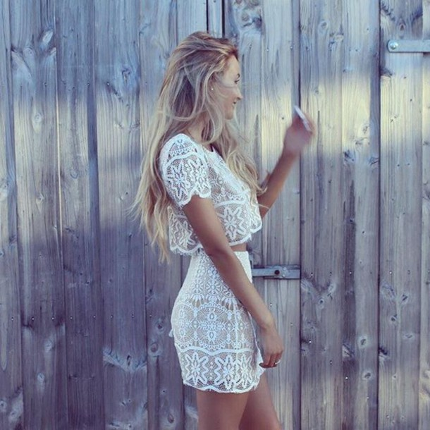 dress Two-piece set white lace set mini skirt cropped tee white lace