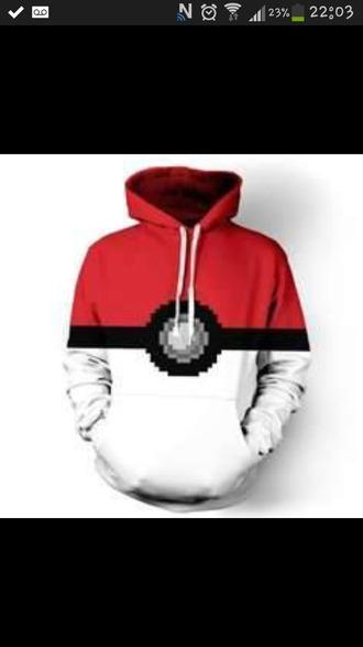 sweater pokeball hoodie red hoodie black hoodie white hoodie pokemon fashion cool anime red hoodie geek long sleeves