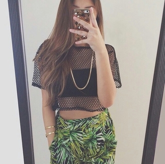 see through chain phone case dope on point clothing fashion inspo palm tree print mesh