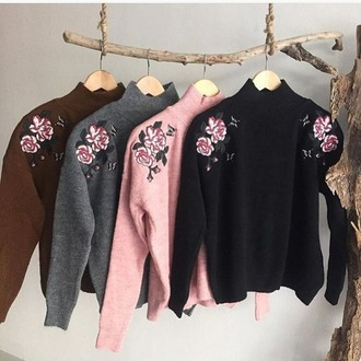 sweater floral knitwear turtleneck ripped comfy nude pink all black everything