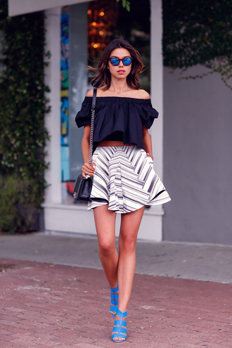 viva luxury blogger off the shoulder top optical spring blue heels black off shoulder top off the shoulder black crop top crop tops black top skirt mini skirt striped skirt black bag chanel bag chanel boy chanel mirrored sunglasses blue sunglasses sandals sandal heels high heel sandals blue sandals puffed sleeves