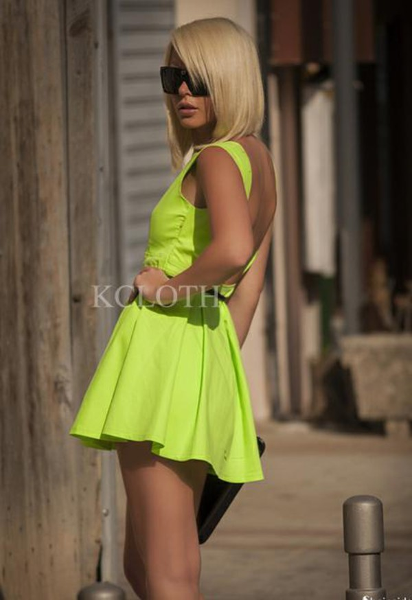 kcloth neon green backless dress party dress dress prom dress neon green party dress cut out back dress