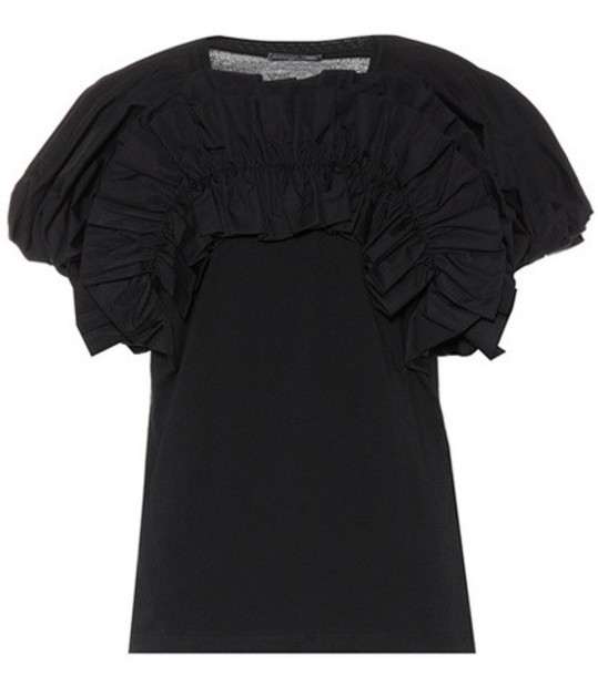 Alexander McQueen Ruffled cotton top in black