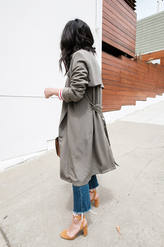 coat tumblr trench coat grey coat denim jeans blue jeans sandals sandal heels high heel sandals shoes