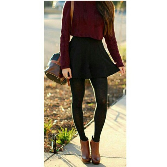 burgundy fall outfits winter sweater