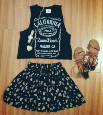 skirt shoes tank top rock necklace summer outfits california california tanktop black tank top watch sandals daisies skirt tumblr tumblr outfits punk metal