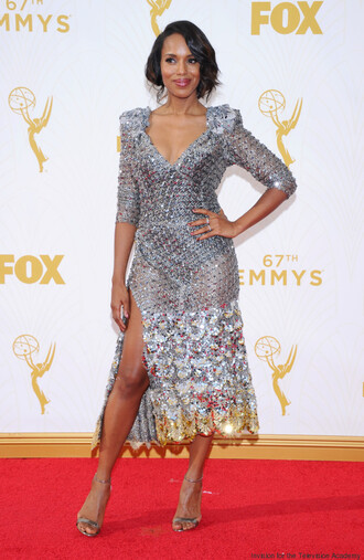 dress kerry washington emmys 2015 silver dress marc jacobs