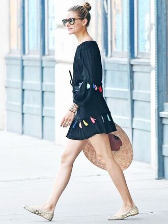 dress olivia palermo blogger mini dress sunglasses flats black off shoulder dress tassel long sleeves long sleeve dress short dress ballet flats bun summer dress summer outfits printed ballerinas