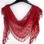 scarf,scarves,girl,etsy,gift ideas,trendy,red scarf,lace scarf,lacy,burgundy,women's,girly