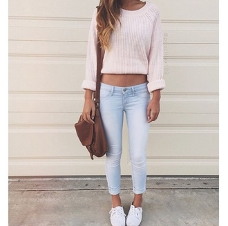 sweater spring bag pink cute comfy tumblr casual brown brown bag shorts pants denim stomach tan fluffy rolled up jeans top wooly pretty blouse shoes sweet style spring outfits cute sweater whole outfit pink dress urban girly