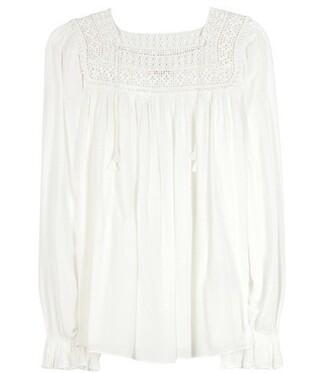 blouse lace crochet white top