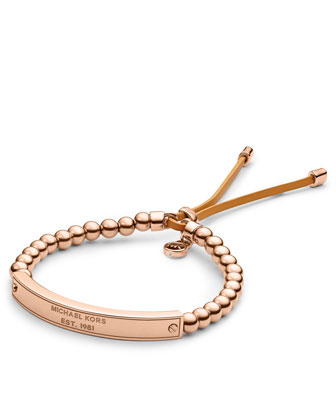 Michael Kors Logo Plaque Bead Bracelet, Rose Golden - Michael Kors