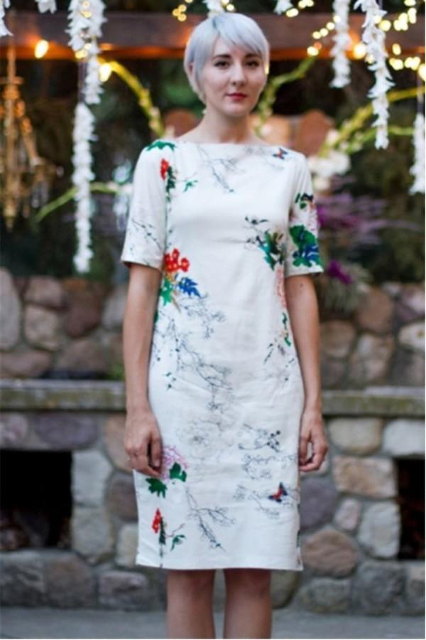 kcloth floral printed dress chiffon midi dress formal dress summer dress butterfly