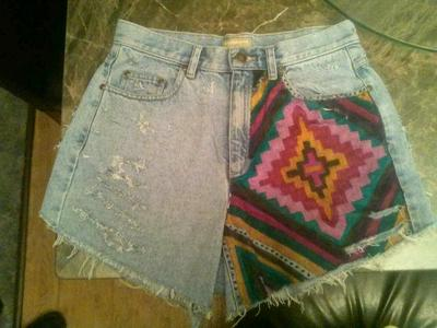 High waisted distressed reconstructed aztec tribal print shorts sz10