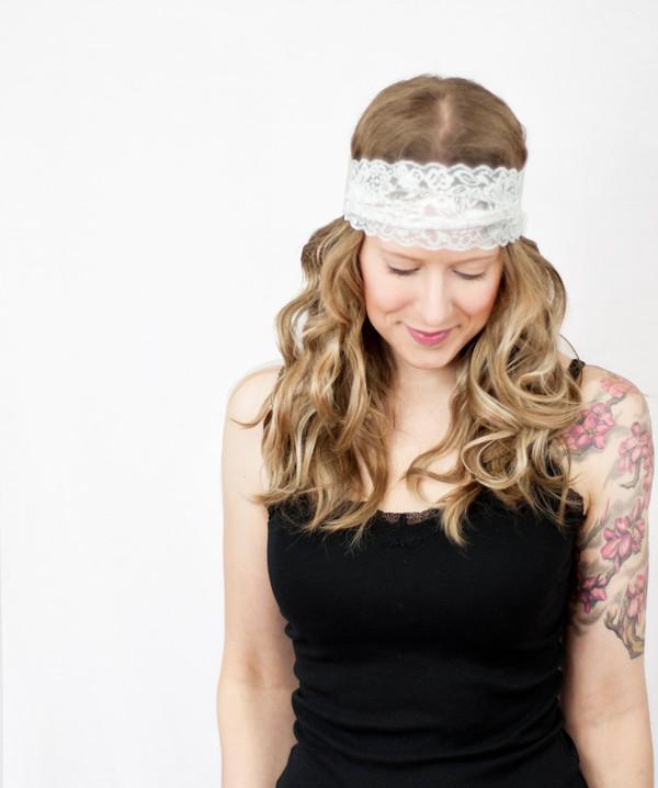 hair accessory headband white lace headband cute headband forehead hair accessory
