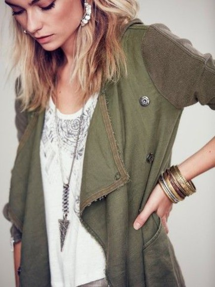 jacket green green jacket fashion army green jacket army green pretty little liars blouse white blouse