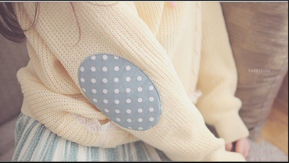 polka dots sweater kfashion patches oversized sweater elbow patches