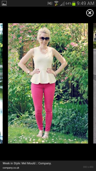blouse white peo peplum top white peplum top topshop pants leggings jeggings pink red lime sunday
