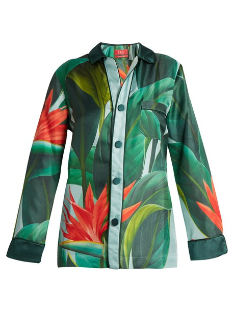F.R.S - FOR RESTLESS SLEEPERS shirt tropical floral print silk green top