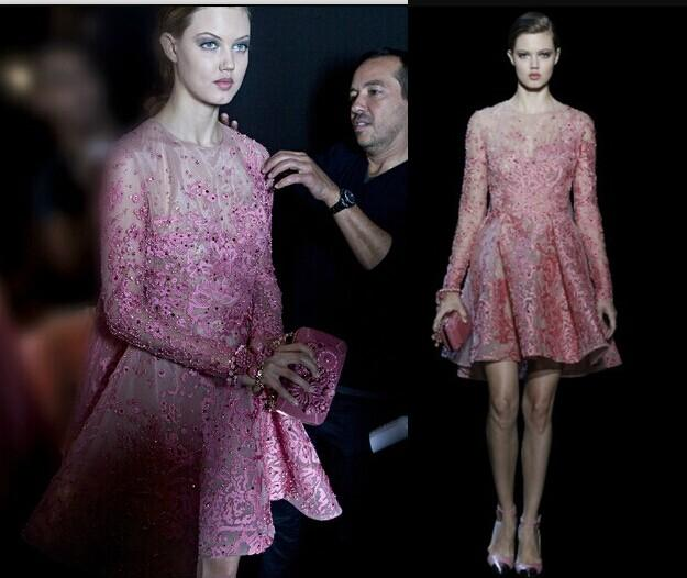 Discount Elie Saab 2015 Evening Gowns Sheer Long Sleeves 2014 Cocktail Dresses Applique Beads A Line Crew Neck Short Prom Gowns New Fashion Online with $139.27/Piece | DHgate