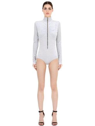 bodysuit zip velvet white underwear