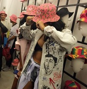 hat,pinkpineapple,pink,bucket hat,printed bucket hat,jacket,rihanna,shirt,colorful,black,white,abstract print