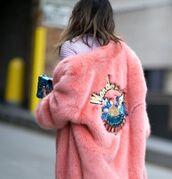 coat,pink coat,fur coat,faux fur,embellished jacket,embroidered,tumblr,patch,big fur coat