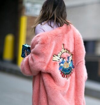 coat pink coat fur coat faux fur embellished jacket embroidered tumblr patch big fur coat