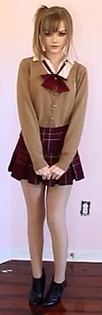 kogyaru dakota rose kotakoti school girl school uniform gyaru tan brown light brown cardigan sweater bows bowtie necktie collared shirt skirt school skirt khaki khaki cardigan pleated skirt tights cute cute outfits fall outfits fall sweater girly bowknot
