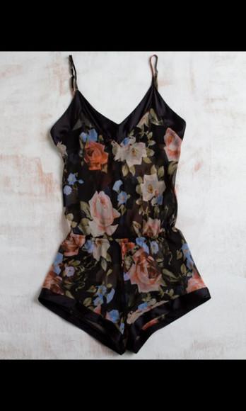 vintage print floral jumpsuit/rompers floral jumpsuit