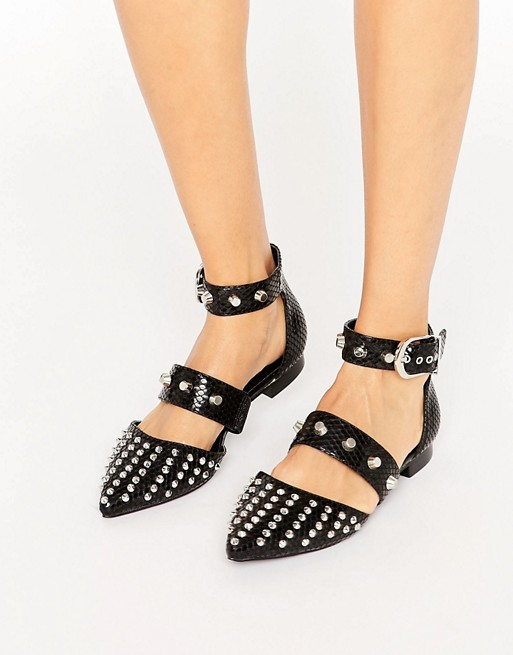 ASOS LIBERAL Studded Pointed Ballet Flats at asos.com