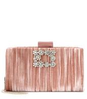 soft,clutch,flowers,velvet,pink,bag