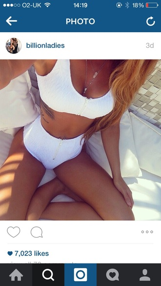 swimwear white zips bikini high waisted ribbed two-piece high waisted bikini