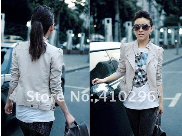envío gratis 2013 nueva mujer chaqueta de cuero beige corea sexy ladies prendas 0012 pelo corto ropa de piel en Chaquetas Básicas de Moda y Complementos en AliExpress.com | Alibaba Group