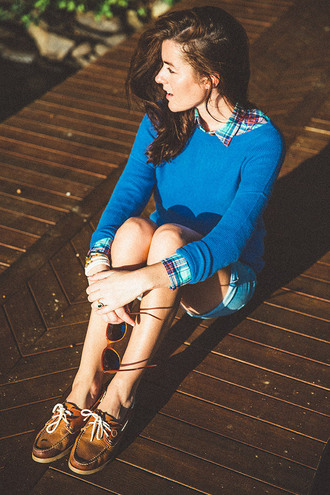 classy girls with pearls blogger blue sweater loafers preppy