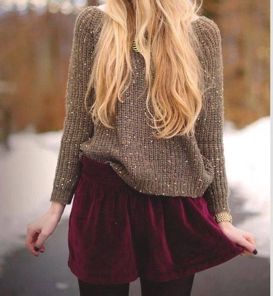 cardigan wool christmas jump knit wear christmas sweater jumper skirt velvet skirt sparkles sparkly sparkly shoes elegant simple style