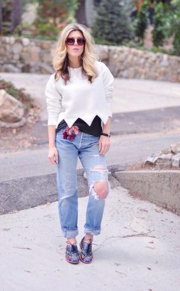 blouse white blouse jeans