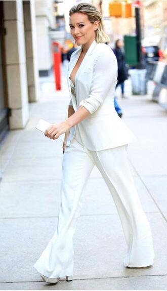 pants jacket bustier bustier top hilary duff suit white pants blazer top